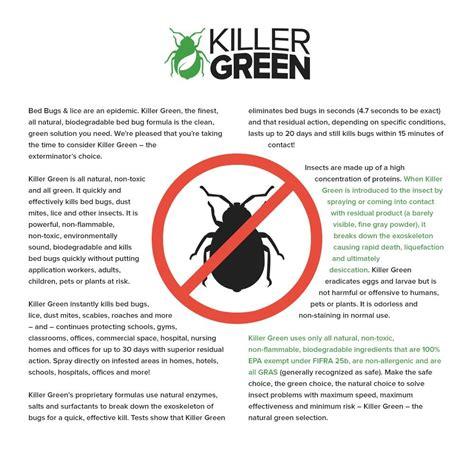 bed bug spray  killer green   toxic  natural killer treatment  bedbugs