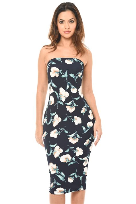 Tropical Print Summer Dress Sml S333 ax womens floral print strapless bodycon midi dress navy casual ebay