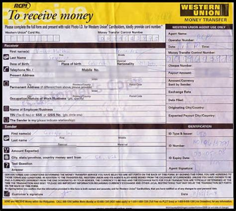 contoh form pengambilan pengiriman uang western union media