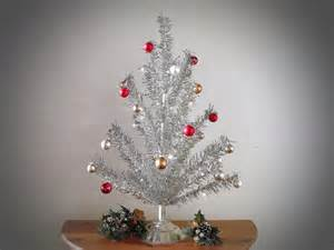 vintage silver tinsel christmas tree twinkle bright silver