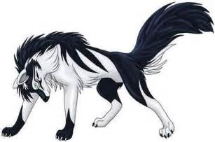 Blue and white wolf anime a black and white wolf anime