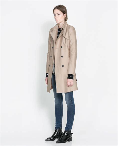Cotton Trench Coat zara cotton trench coat in beige camel lyst