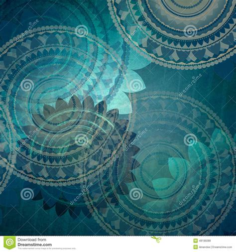 elegant blue background design with fancy seal flower shapes in elegant blue background design with fancy seal flower