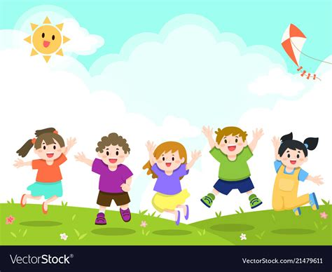 children clipart happy children at outdoor park royalty free vector