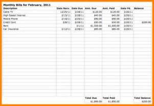 monthly bills template monthly bills template