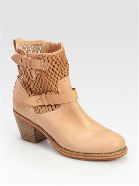 rag and bone boots rag bone perforated leather moto ankle boots in beige