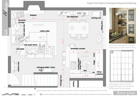 cape cod plans open floor entire floor design project designed by al design team