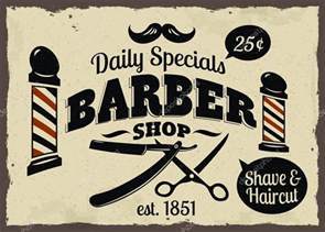 barber shop or hairdresser icons and signpost stock
