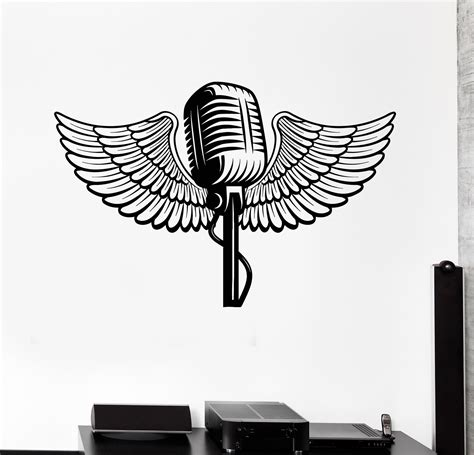 microphone wings tattoo vinyl wall decal microphone wings music karaoke stickers