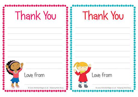 thank you card writing template children thank you notes