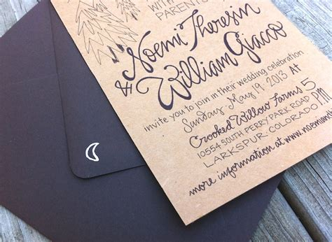 Paper Stock For Wedding Invitations by Noemi Bj S Lettered Kraft Paper Wedding Invitations