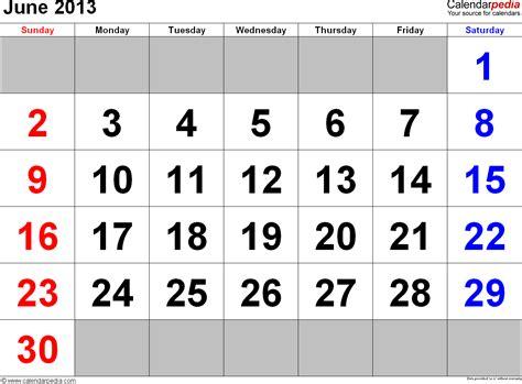Calendar June 2013 June 2013 Calendars For Word Excel Pdf