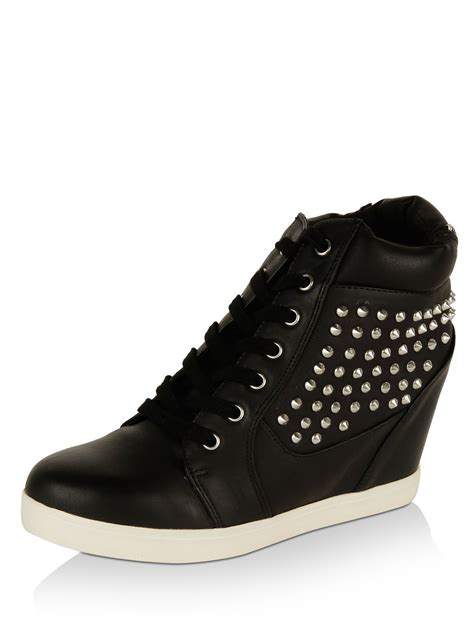 buy new look studded wedge trainers for s