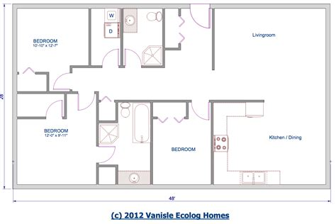 One Level Floor Plans 3 Bed Floor Plan 1344 Sqft 28 X48 House With Layout