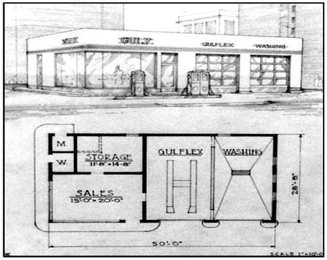 gas station floor plans 1940s artist rendering gulf gas station reed brothers