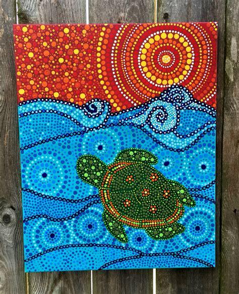 pattern art on canvas acrylic on canvas original artwork turtle ocean