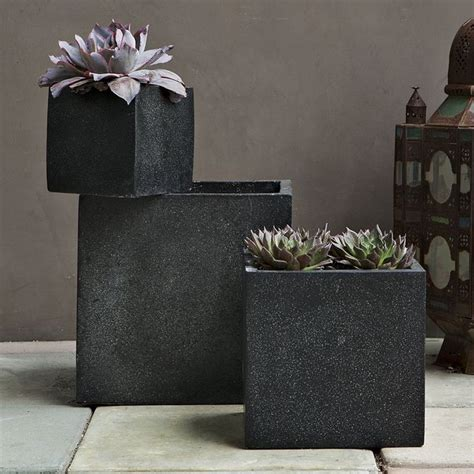 Black Outdoor Planters Iris Speckled Planter Black Contemporary Outdoor Pots
