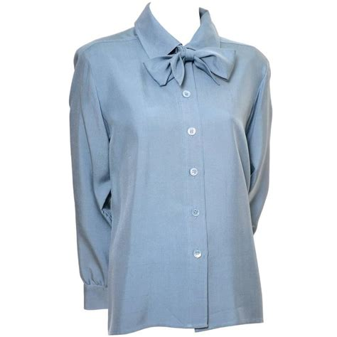 St Yves Bow Shoulder Blouse T3010 2 ysl vintage bow blouse blue silk yves laurent size 38 for sale at 1stdibs