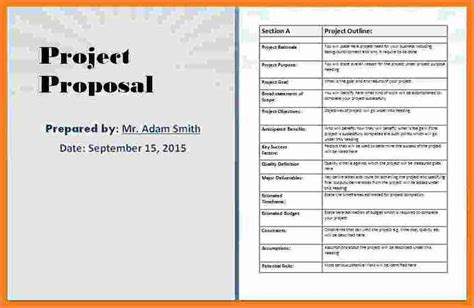 project proposal layout sle 4 business proposal template microsoft word project