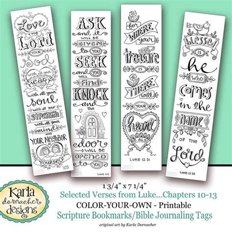 printable journaling tags luke 10 13 color your own bookmarks bible journaling