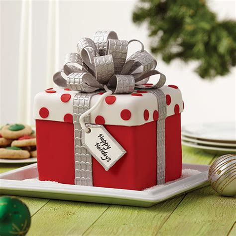 christmas gift box fondant cake with bow wilton