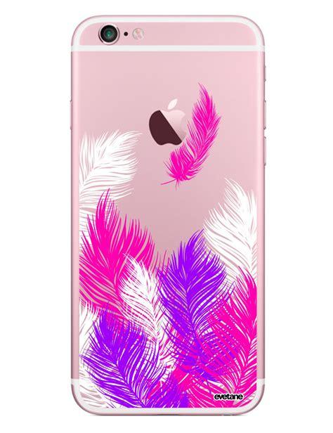 coque transparente plumes rose pour iphone