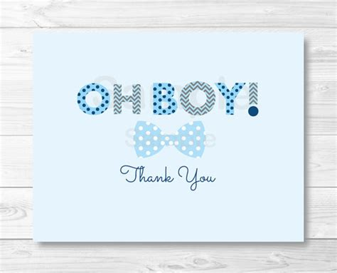 oh boy bow tie folded thank you card template baby shower baby shower thank you