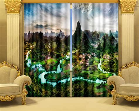 landscape curtains photo print stereoscopic 3d curtains landscape of guilin