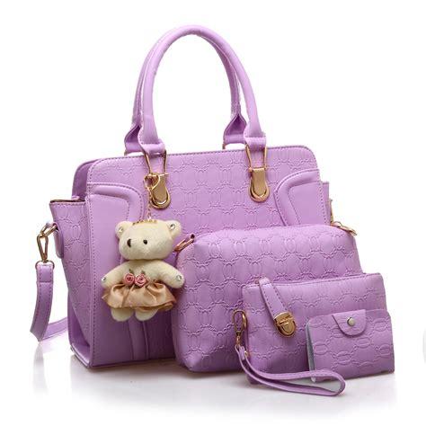 Tas Tangan Wanita Leopard Import jual tas tangan wanita import new satu set 4 in 1 warna purple ungu harga murah surabaya oleh