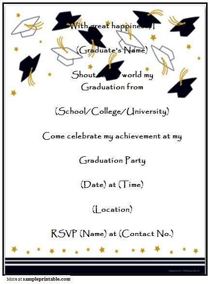 Homemade Graduation Party Invitation Printable Homemade Graduation Party Invitation Free Printable Graduation Invitation Templates