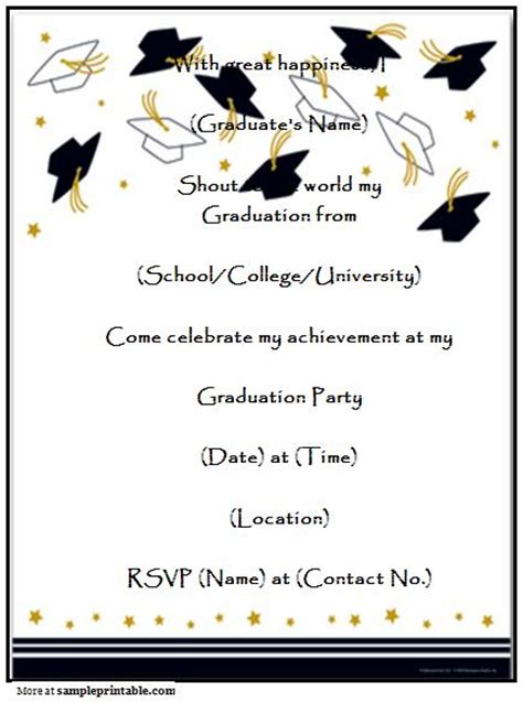 graduation invitation templates free word graduation invitation printable