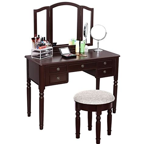 Folding Vanity Table Songmics Vanity Set Tri Folding Mirror Make Up Dressing Table Import It All