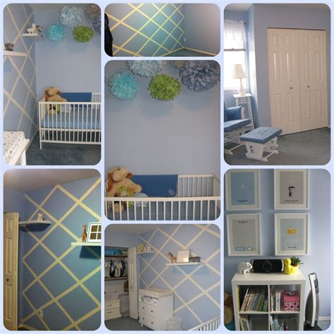 striped lattice paint blue boy nursery what would kate do