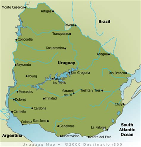 map of uruguay with cities map of uruguay uruguay travel map