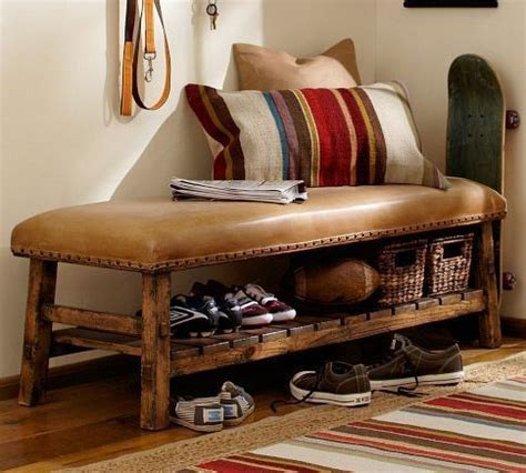 Pottery Barn Shoe Bench rich rustic leather bench with bronze nailheads and wood