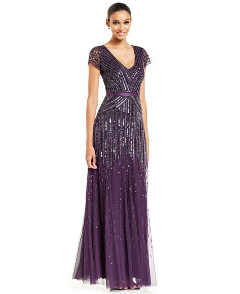 dress cap sleeve beaded sequin gown lyst papell papell cap sleeve