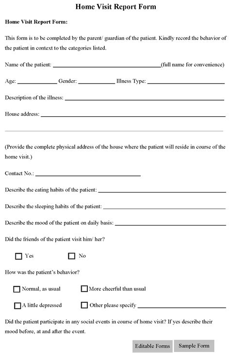 home visit form template home visit report form editable forms