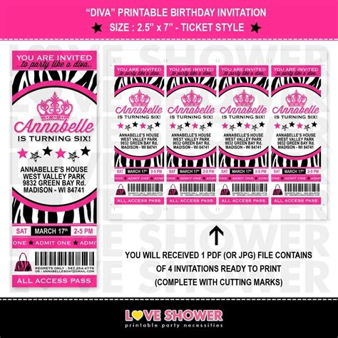 Ticket Style Invitation Template zebra birthday invitations template resume builder