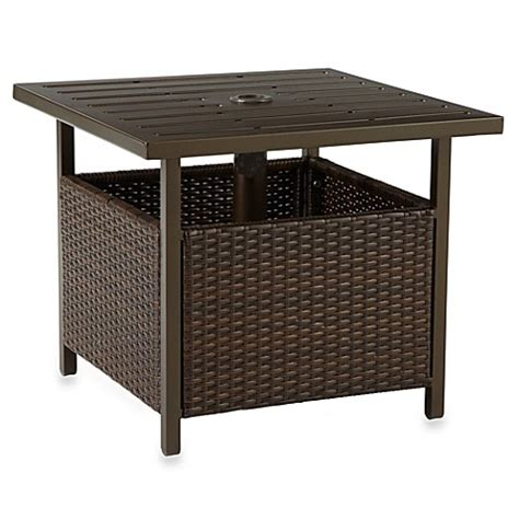 patio umbrella side table wicker umbrella side table in bronze bed bath beyond