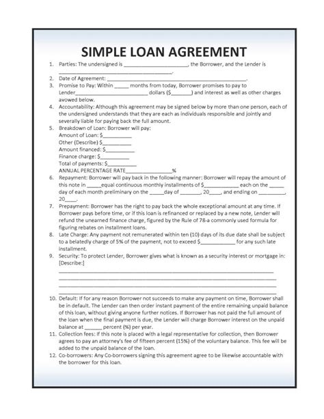 simple loan agreement sle vatansun