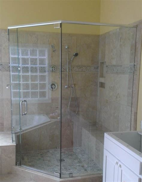 Custom Frameless Shower Door Neo Angle With Heavy Header And Pivot Hinges A