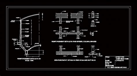 water tank type intze dwg section  autocad designs cad
