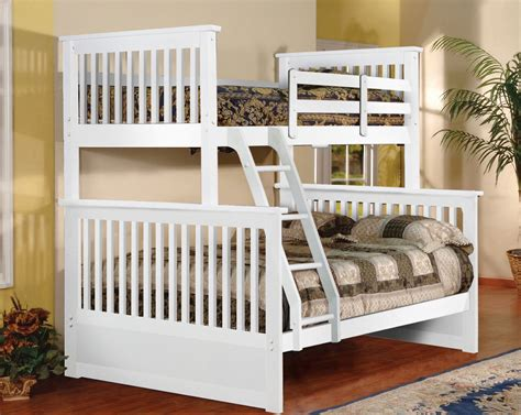 Size Bunk Beds by White Size Bunk Bed With Ladder And Side