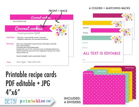 printable recipe index card dividers printable recipe cards 4x6 recipe cards recipe card