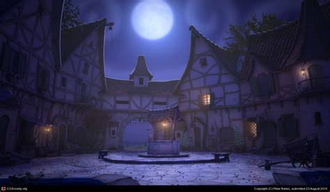 Red Bedroom Bench Village At Night By Petar Balsic 3d Cgsociety