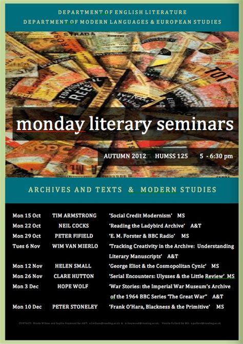 the literary conference series 1 literary monday seminars at reading