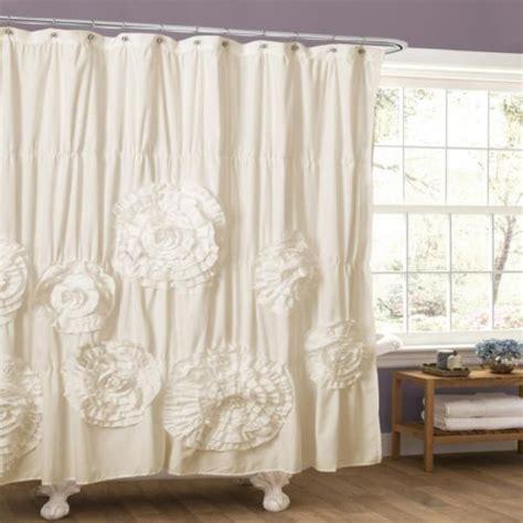 cream ruffle shower curtain chic shabby shower curtain ruffled ruched fabric