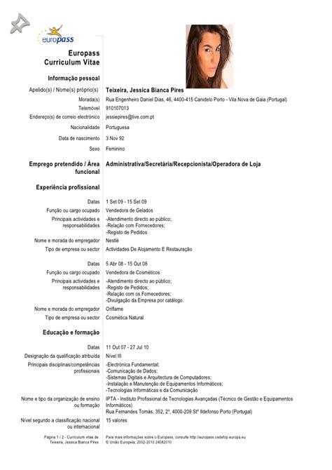 Modelo Curriculum Vitae Europeu Em Portugues Curriculum Vitae Em Portugues Curriculum Vitae
