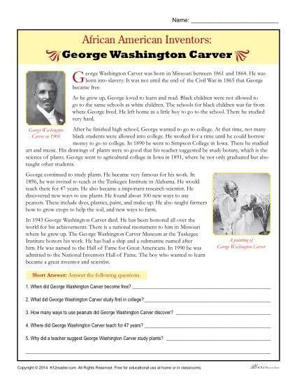 george washington biography for third grade african american inventors george washington carver