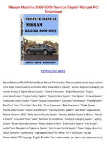 service and repair manuals 2006 nissan maxima instrument cluster nissan maxima 2006 2009 service repair manual by owenoneil issuu